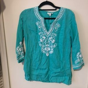 Beaded & Embroidered Turquoise Linen Top, XS